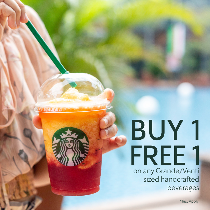 BUY 1 FREE 1 STARBUCKS