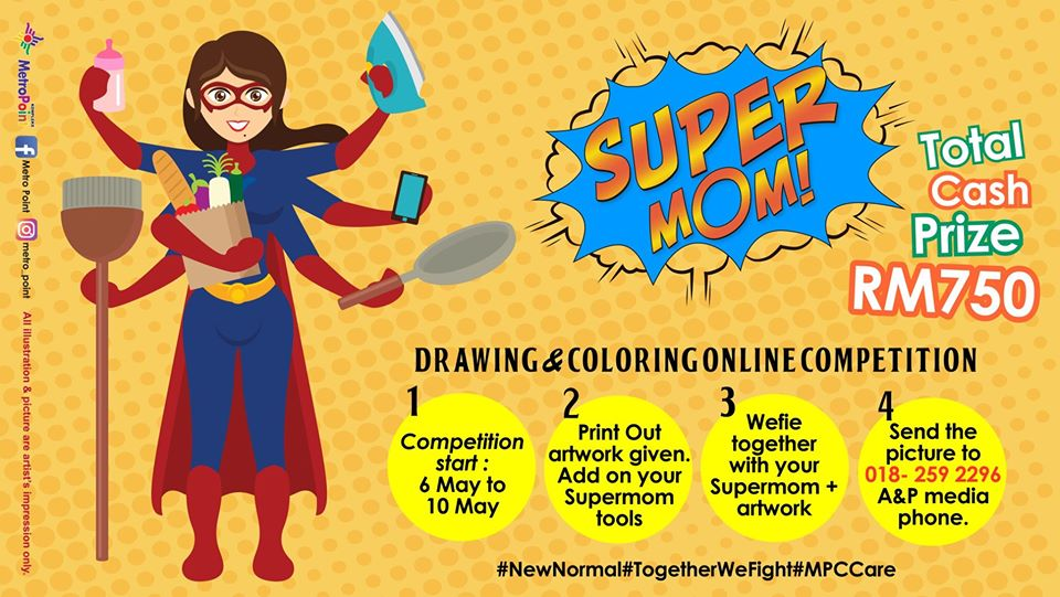 SUPERMOM DRAWING & COLORING HAPPY MOTHER'S DAY